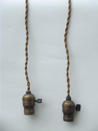 Early Electric Pendant Light Ceiling Fixtures Old Cord And Antique Br Sockets
