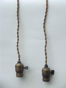 early electric pendant light ceiling fixtures, old cord and antique brass sockets