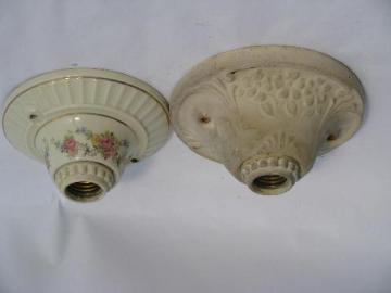 early electric pull-chain light ceiling fixtures, vintage floral Porcelier lights