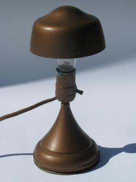 early electric vintage Buss helmet shade lamp, machine age wall sconce or desk light