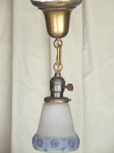 early electric vintage brass pendant light w/ handpainted glass shade
