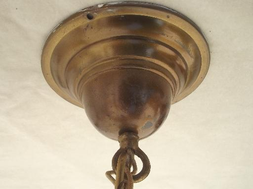 early electric vintage brass pull switch pendant light w/ glass shade