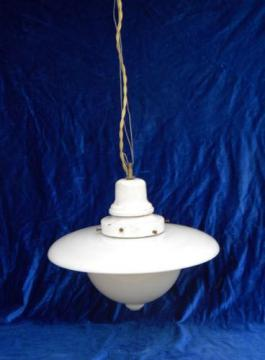 early electric vintage, industrial pendant light w/ milk glass reflector shade