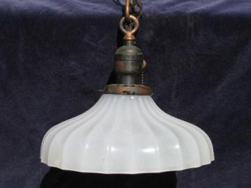 early electric vintage industrial pendant light, old translucent white glass shade