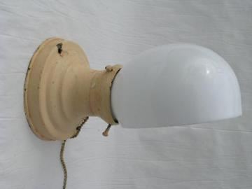 early electric vintage wall sconce light w/ glass shade
