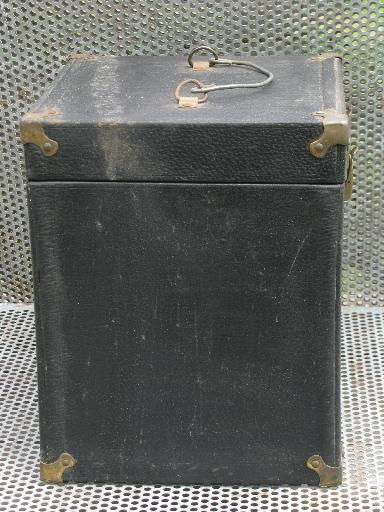 early industrial instrument case or storage box w/brass hardware