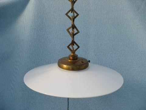 early industrial vintage electric pendant light, flat milk glass reflector shade