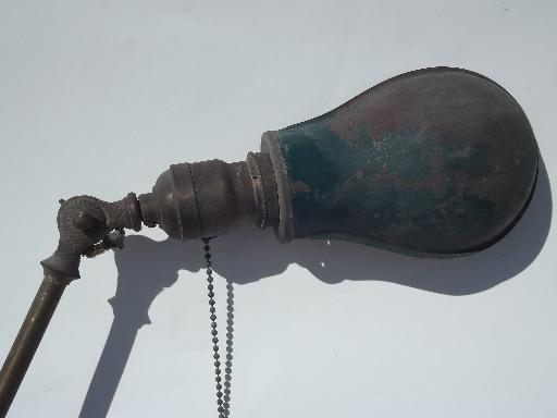 early industrial vintage work light/helmet shade antique solid brass