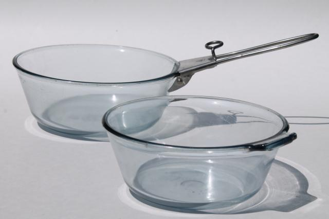 Early Vintage Pyrex Flameware Blue Tint Glass Pans W