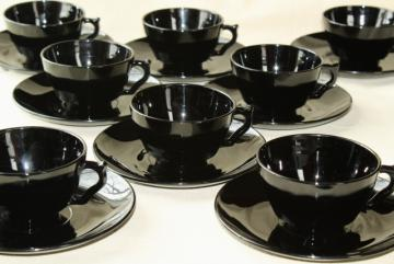 ebony black depression glass cups & saucers, art deco vintage elegant glass