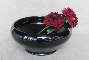 ebony black depression glass vase, deco mod vintage rose bowl black milk glass