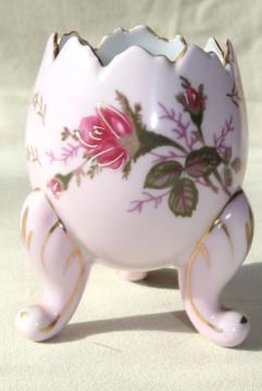 egg shaped pink china flower vase for bulb or Easter flowers, vintage Lefton Japan