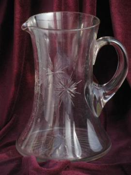 eight point wheel cut Bethlehem star pattern, vintage glass pitcher