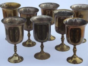 eight silver plate lined solid brass goblets, vintage wine glasses set