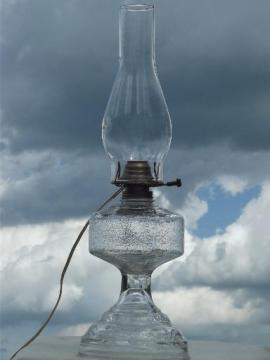 electricfied old glass  kero oil lamp, vintage chimney shade lamp