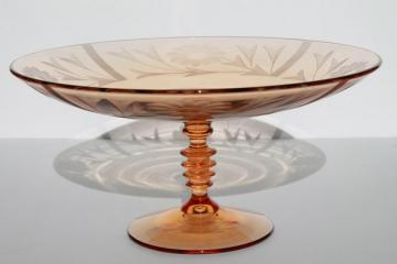 elegant vintage amber pink glass compote, wheel cut glass bowl w/ stacked wafer spindle stem