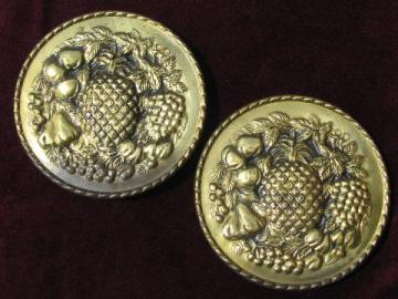 embossed brass chargers, wall pocket plates w/ fruit pattern, vintage England