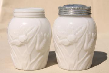 embossed flowers tulip pattern milk glass shakers or spice jars, vintage S&P set