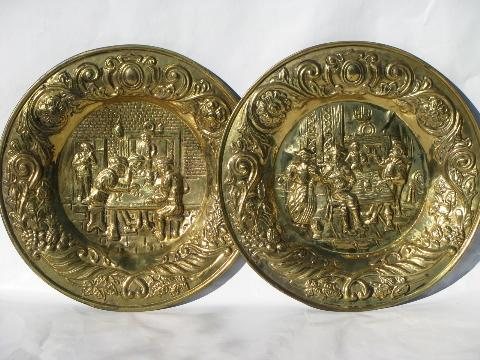 Embossed Solid Brass Chargers Large Plates Or Trays Old