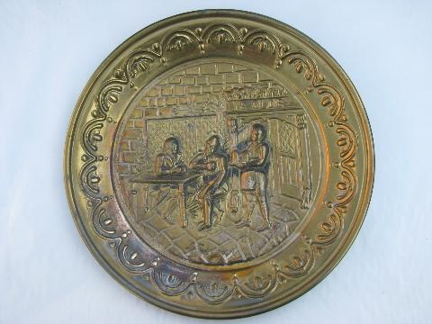 embossed solid brass chargers, large plates or trays, Old England scenes