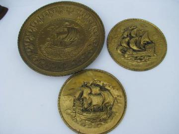 embossed solid brass chargers, large plates or trays, ships pattern, vintage England