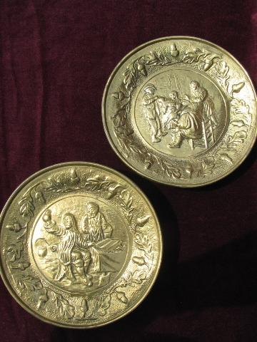 embossed solid brass chargers, old England scenes wall pocket plates