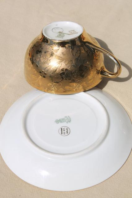 encrusted gold & silver colonial couple china tea set, vintage Arzberg Bavaria porcelain