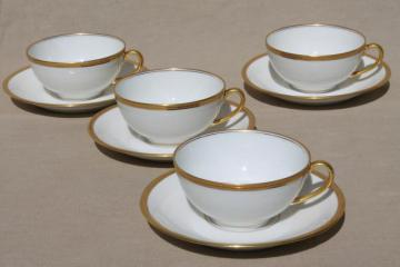 encrusted gold wedding band china cups & saucers, pure white Limoges Bawo & Dotter