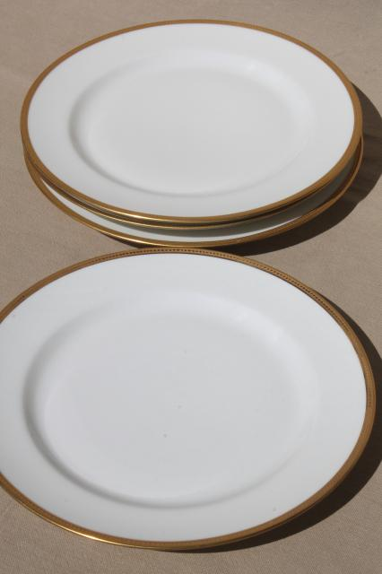 encrusted gold wedding band china plates pure white Limoges porcelain Elite mark : limoges dinnerware - pezcame.com