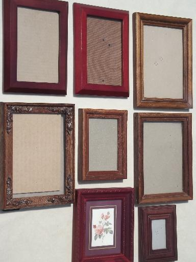 estate lot all wood picture frames, small photo frames grouping