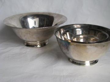 estate lot of Revere style bowls in all sizes, vintage silver plate