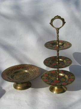 etched India brass w/ hand-painted enamel, tiered plate & pedestal dish