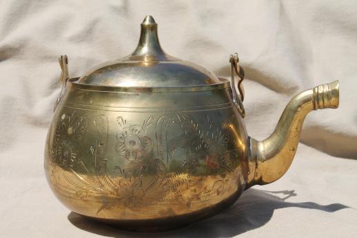 Etched Brass Tea Kettle Vintage Indian Brass Teapot