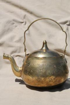 etched brass tea kettle, vintage Indian brass teapot handmade in India