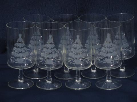 Etched Glass Christmas Tree Holiday Glasses Vintage