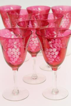 etched grapes water glasses or wine goblets, clear stem cranberry or ruby red stain glass