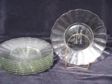 etched salad plates w/ art deco M monogram, vintage elegant glass