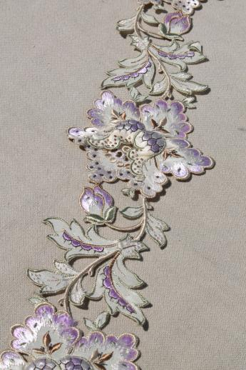 Exquisite Antique French Embroidered Silk Applique Floral