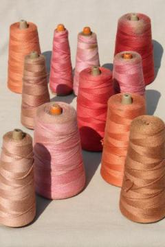 faded reds, barn red colors primitive grubby old spools of vintage cotton cord thread