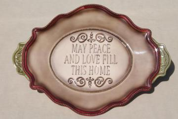 fall harvest table serving tray or Thanksgiving platter, May Peace & Love Fill This Home