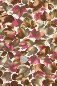 falling leaves print cotton fabric, mid-century vintage maple leaf print rose & brown