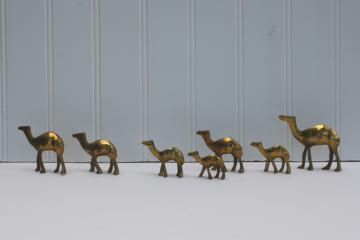 family of camels, vintage solid brass miniature animal figurines camel string