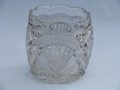 Fan Pattern Vintage Pressed Glass Spooner Celery Vase Rose Bowl