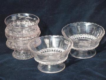 fancy antique vintage pattern glass ice cream dishes, small pedestal bowls