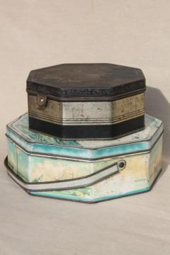 fancy shabby vintage tins, metal sewing box & candy / cookies tin