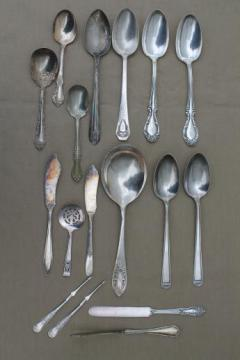 fancy vintage silver plate serving pieces, mixed patterns silver plated flatware lot