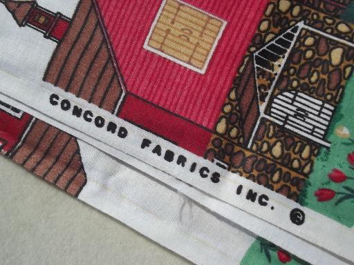 farm country prints cotton fabric lot, chicken wire, roosters, cow print