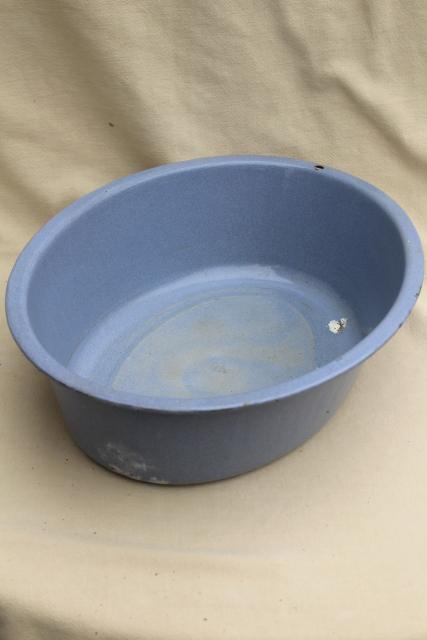 farmhouse blue vintage enamel ware basin, large oval dishpan or wash tub, planter pot