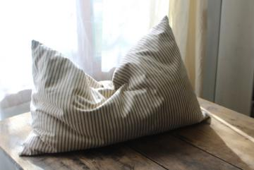 farmhouse country primitive vintage feather pillow, old indigo blue striped cotton ticking