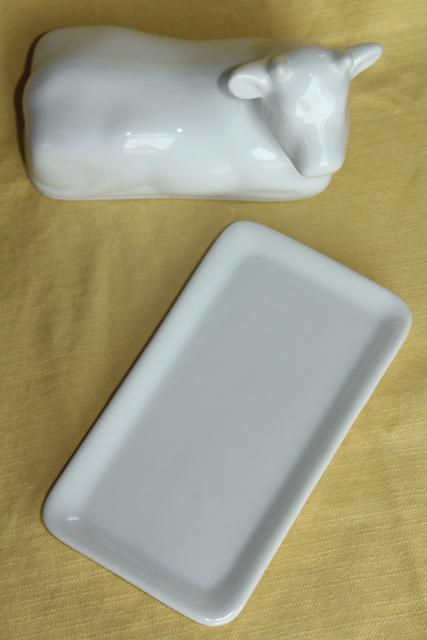 farmhouse kitchen butter dish, white ironstone china cow cover w/ butter plate